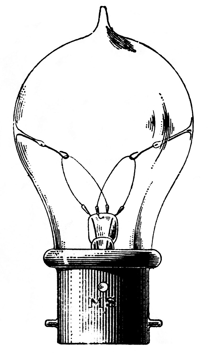 Vintage old fashioned the. Light bulb clip art retro