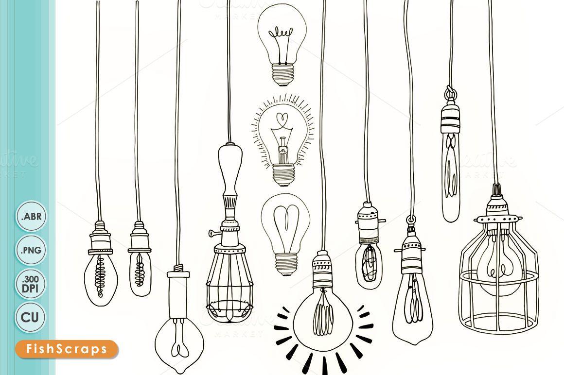 Vintage edison illustrations on. Light bulb clip art retro
