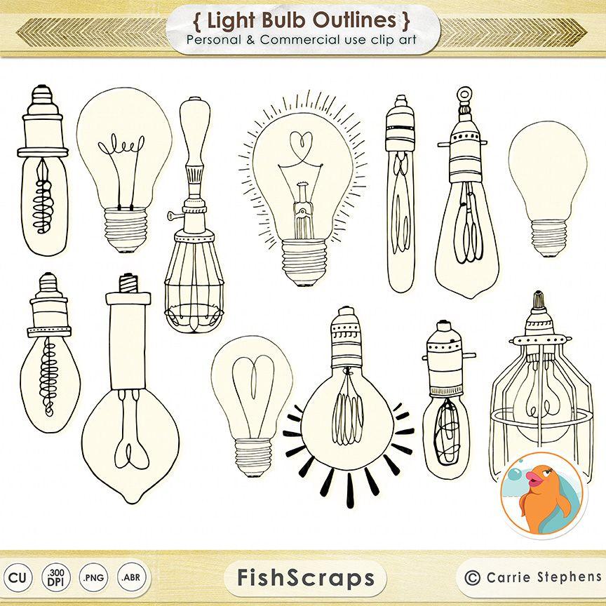 Light bulb clip art retro. Vintage edison by fishscraps
