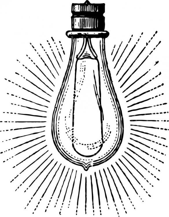 Vintage black and white. Light bulb clip art retro
