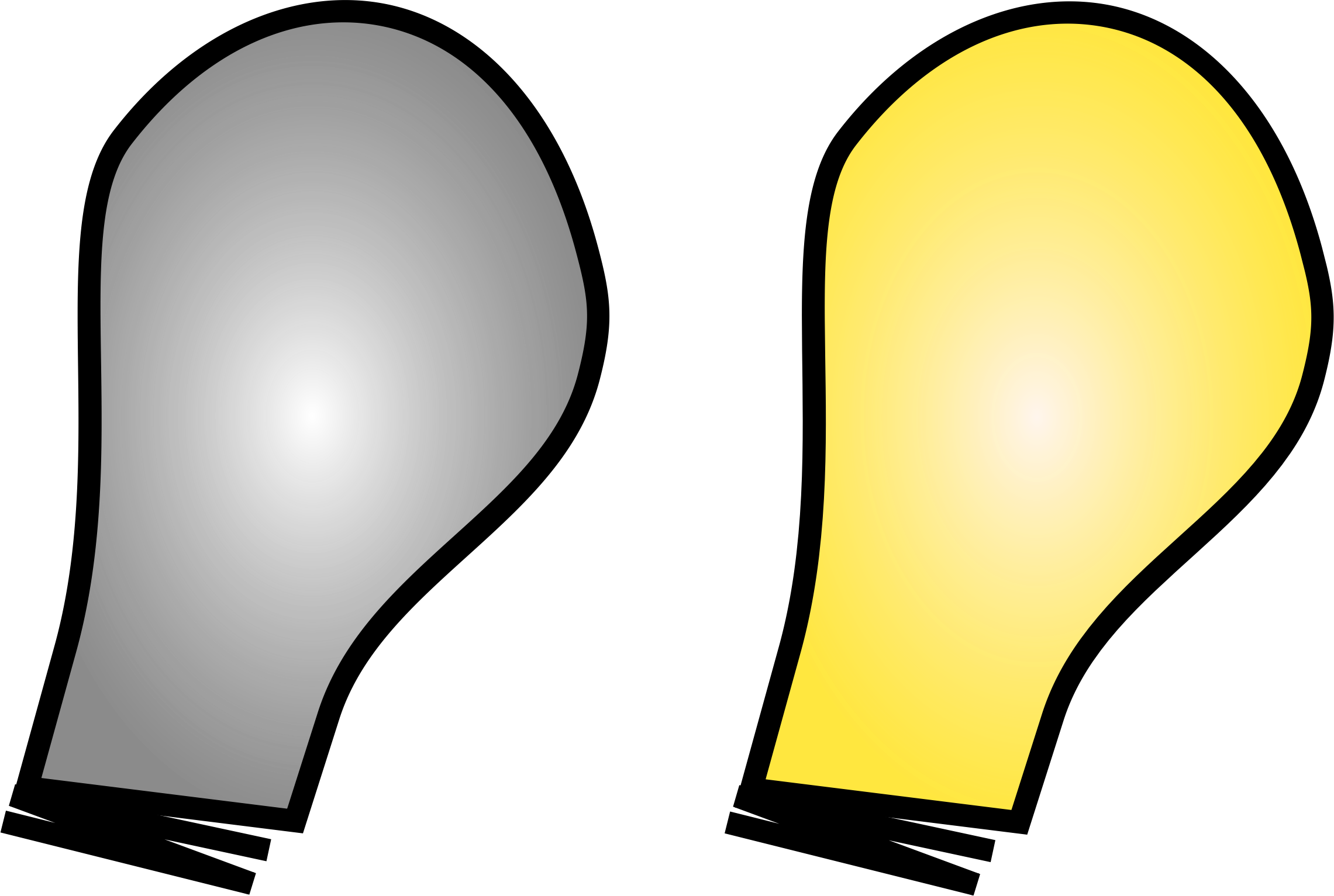 Simple light bulb on. Lights clipart yellow