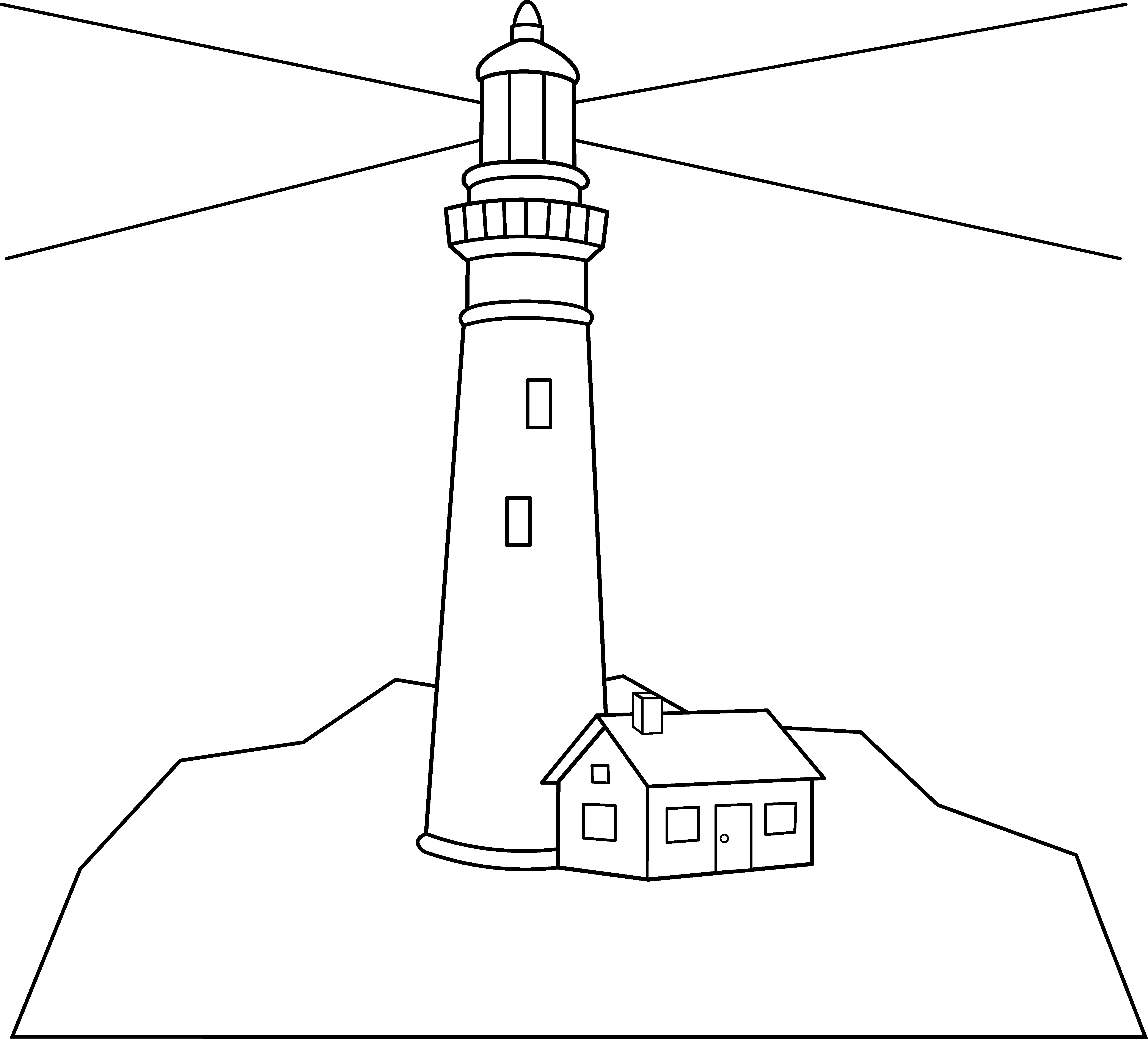 Colorable lighthouse scene free. Tower clipart coloring page