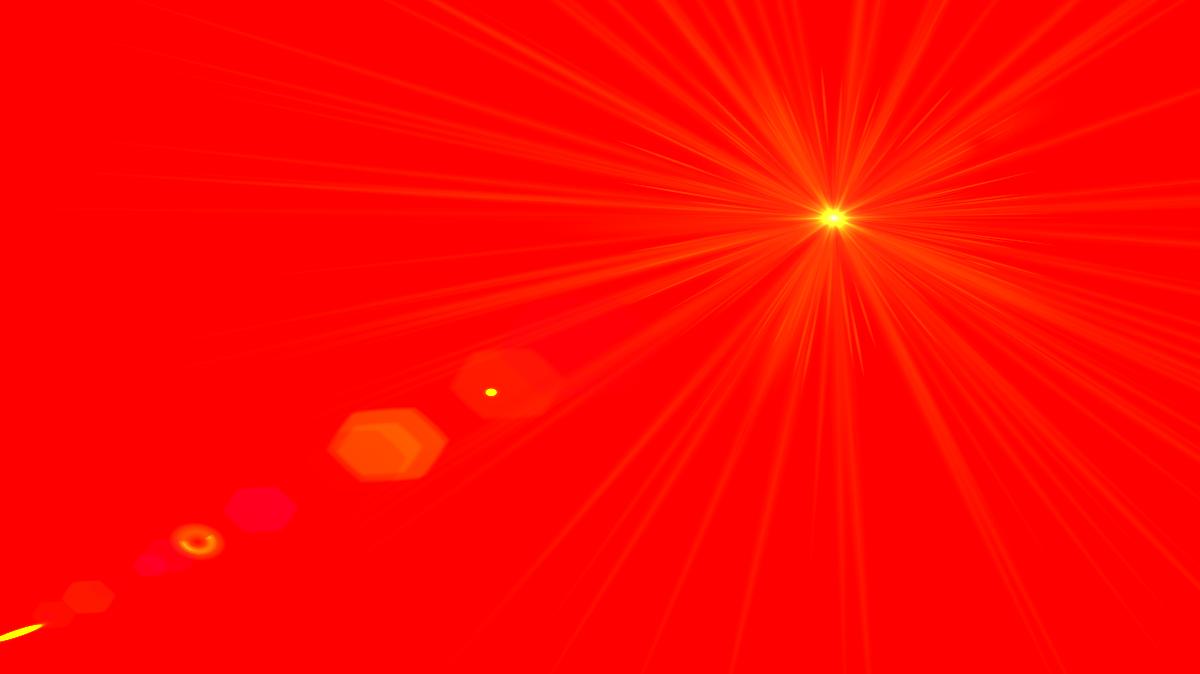 Side red lens flare. Light clipart spot