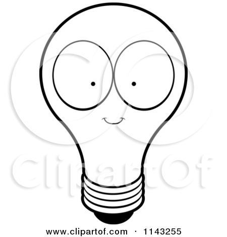 Light bulb black and. Lightbulb clipart face