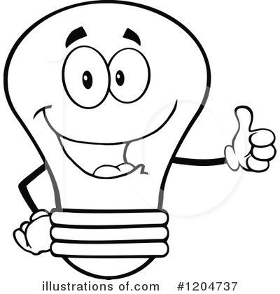 Black and white free. Lightbulb clipart face