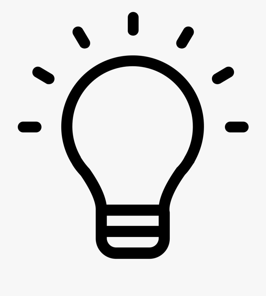 Light bulb black and. Lightbulb clipart research paper
