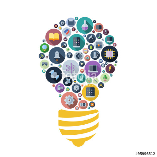 Icons for technology and. Lightbulb clipart science