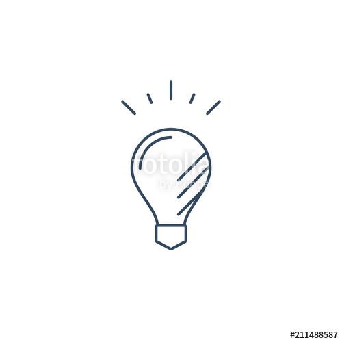 Thin line light bulb. Lightbulb clipart story solution