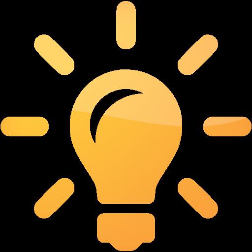 Lightbulb icon png. Orange light bulb idea