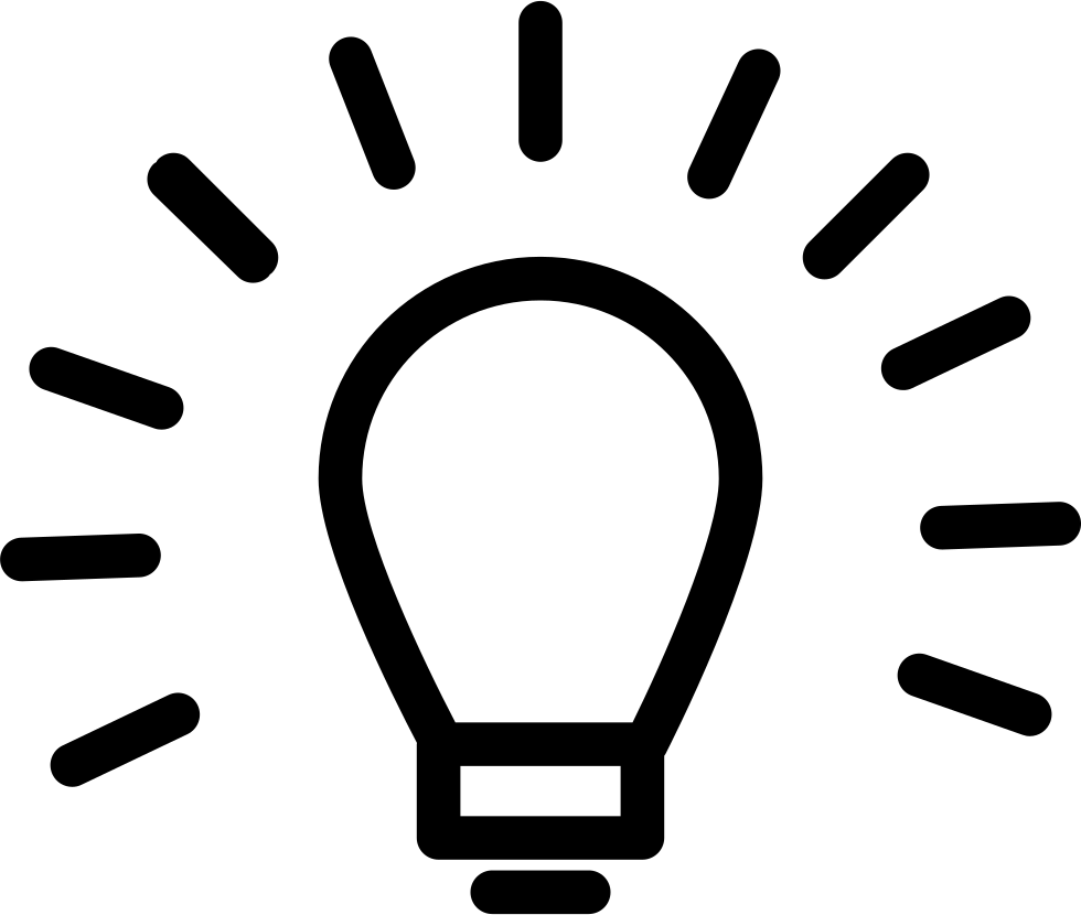 Light bulb outline sign. Lightbulb icon png