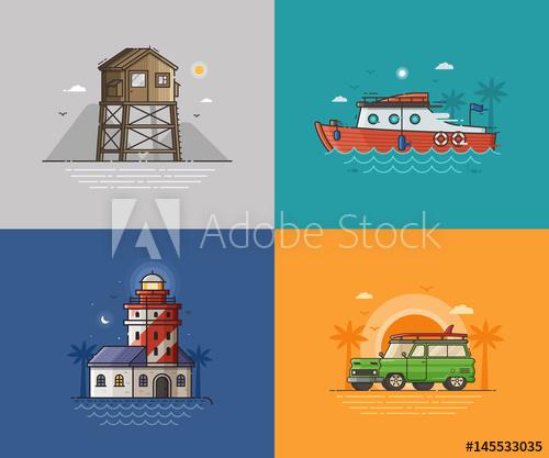 Lighthouse clipart boat scene. Travel seaside landscapes set