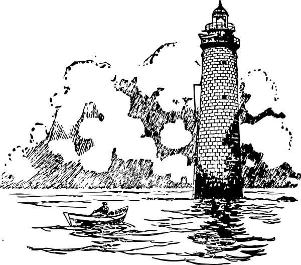 Lighthouse clipart boat scene. Small rowing beside clip