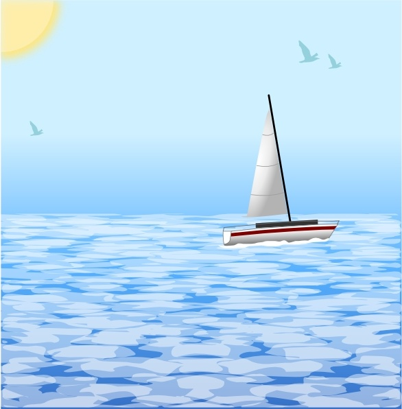 Sea with clip art. Lighthouse clipart boat scene