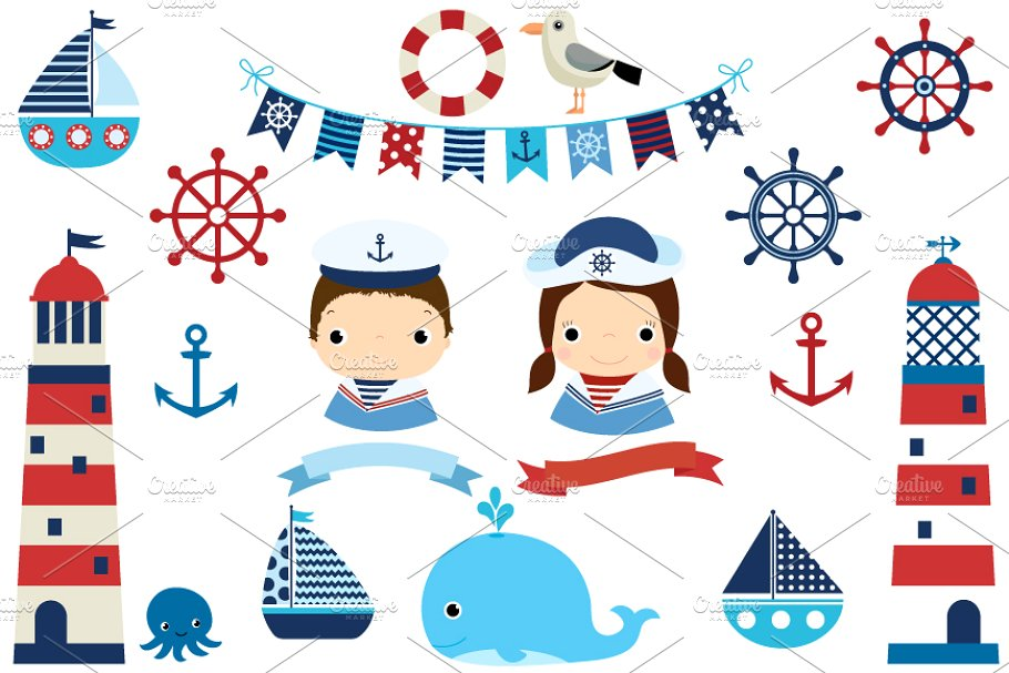 Boat . Lighthouse clipart nautical theme