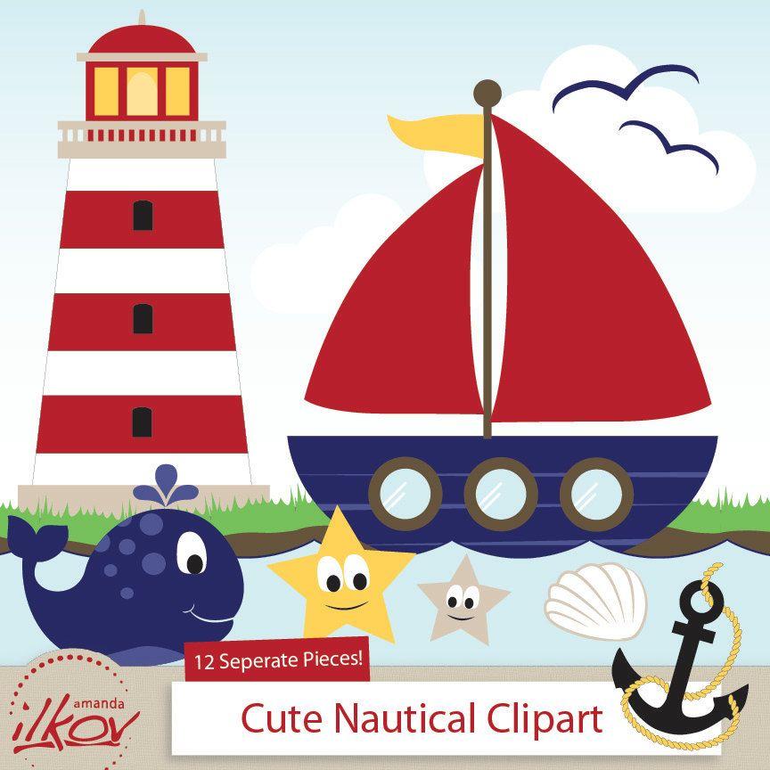 Nautical for digital scrapbooking. Professional clipart cute