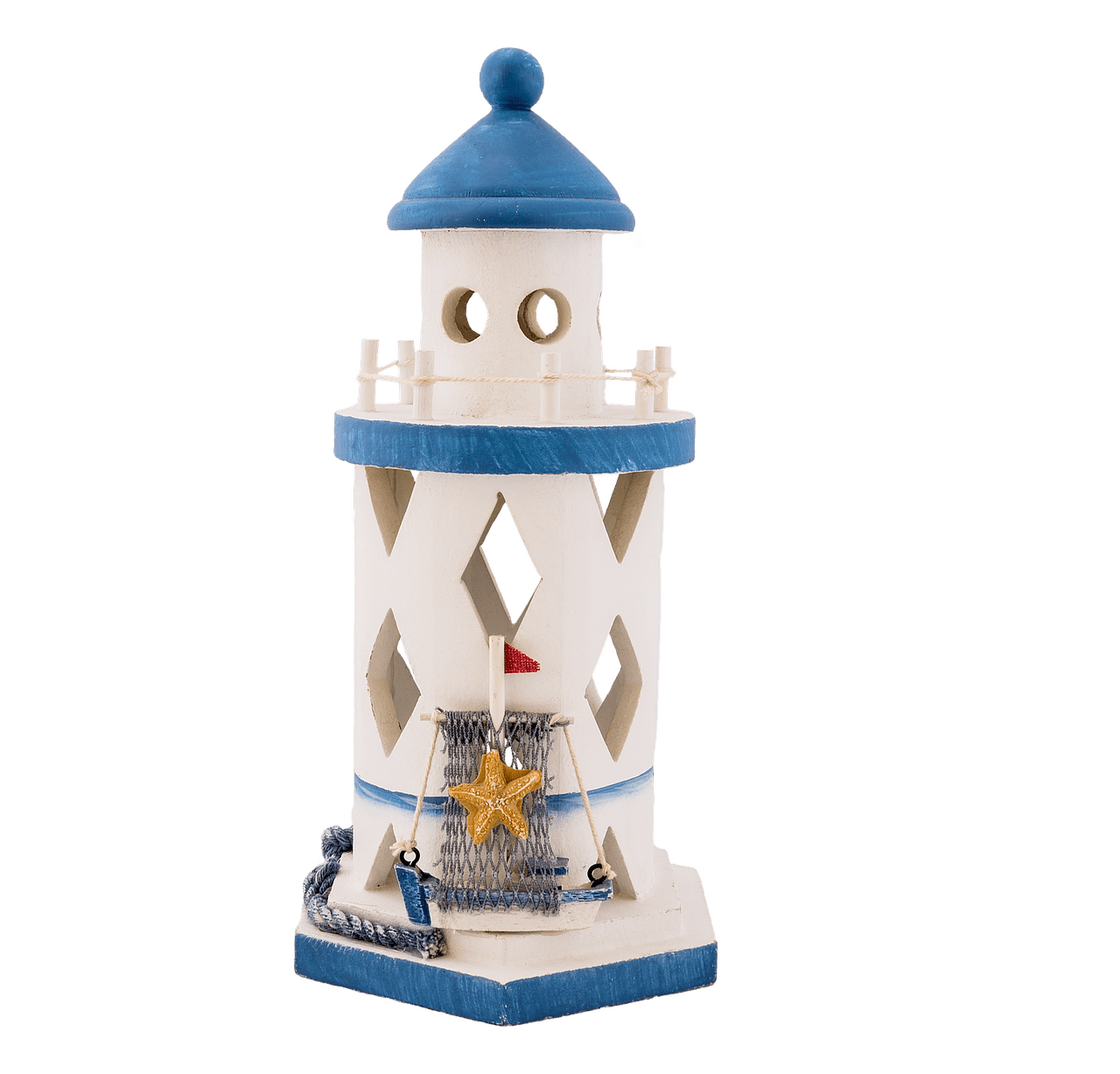 White and blue toy. Square clipart lighthouse