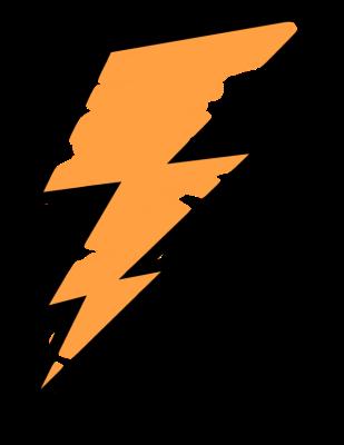 Orange painted bolt for. Lightning clipart artistic