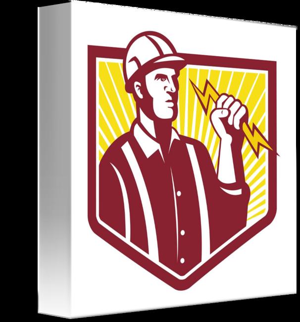 Lightning clipart illustrator. Electrician holding bolt retro