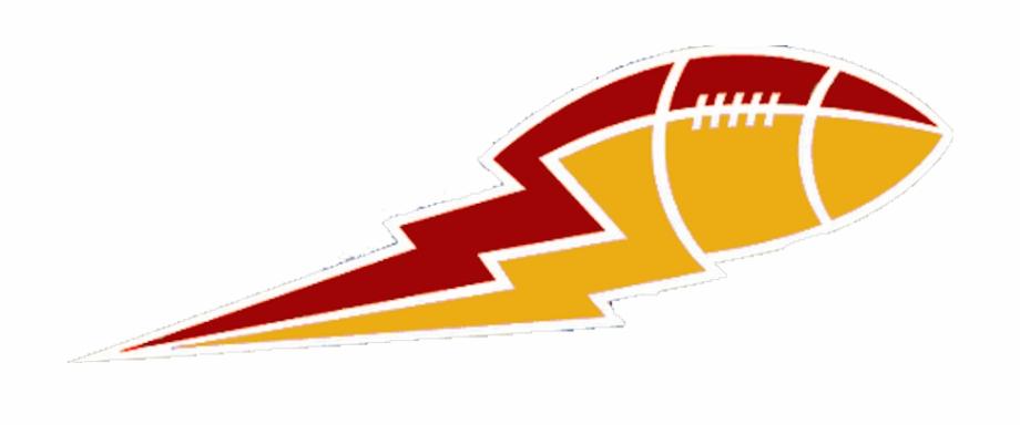 Bolt png football logo. Lightning clipart red yellow