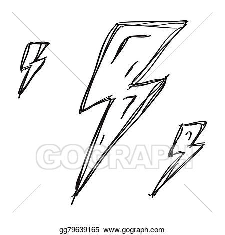 Lightning clipart simple. Vector illustration doodle of