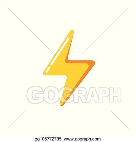 Lightning clipart simple. Vector illustration minimalist thunderbolt