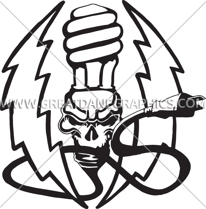 Lightning clipart sketch. Skull bulb production ready