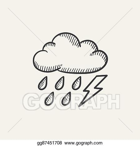 Lightning clipart sketch. Vector art cloud with