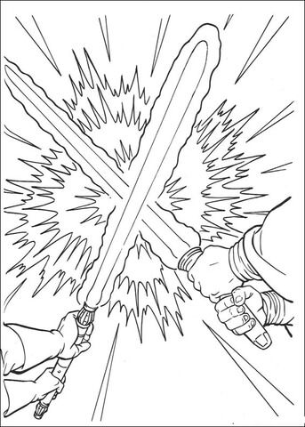 Lightsaber clipart coloring page. Duel free printable pages