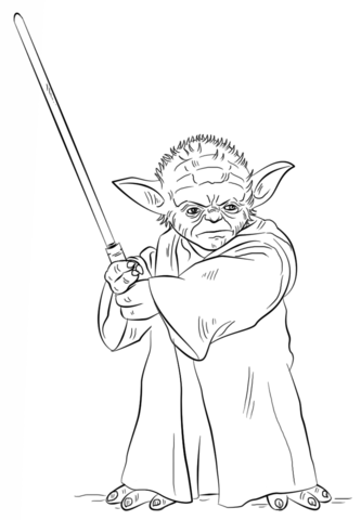 Yoda with free printable. Lightsaber clipart coloring page