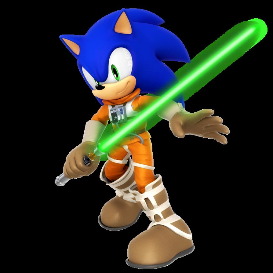 Lightsaber clipart luke skywalker's. Sonic as skywalker by