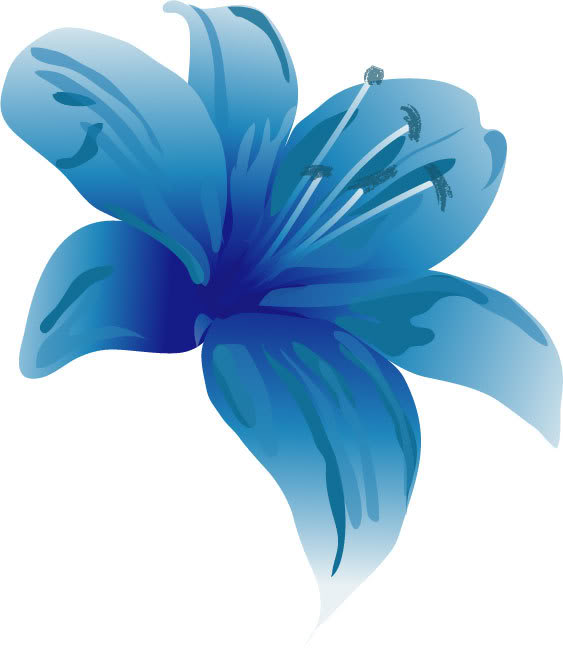 Lily clipart. Blue