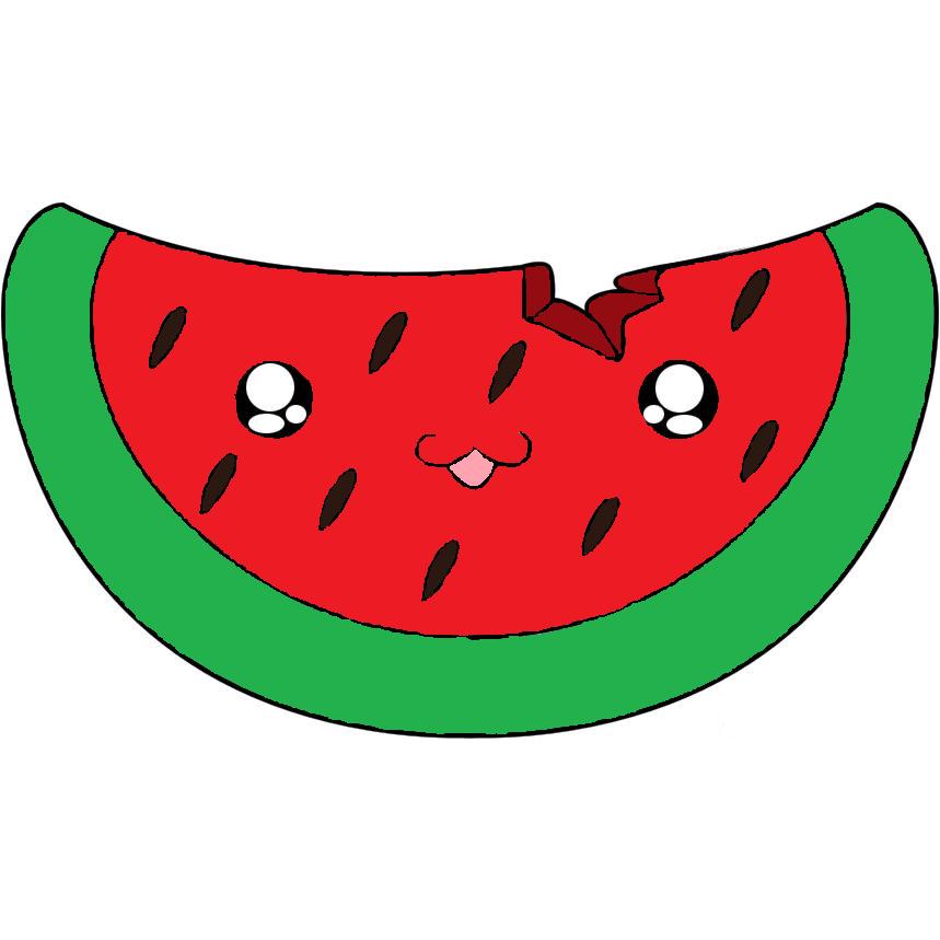 Watermelon drawing cartoon cuteness. Lime clipart cucumber slice