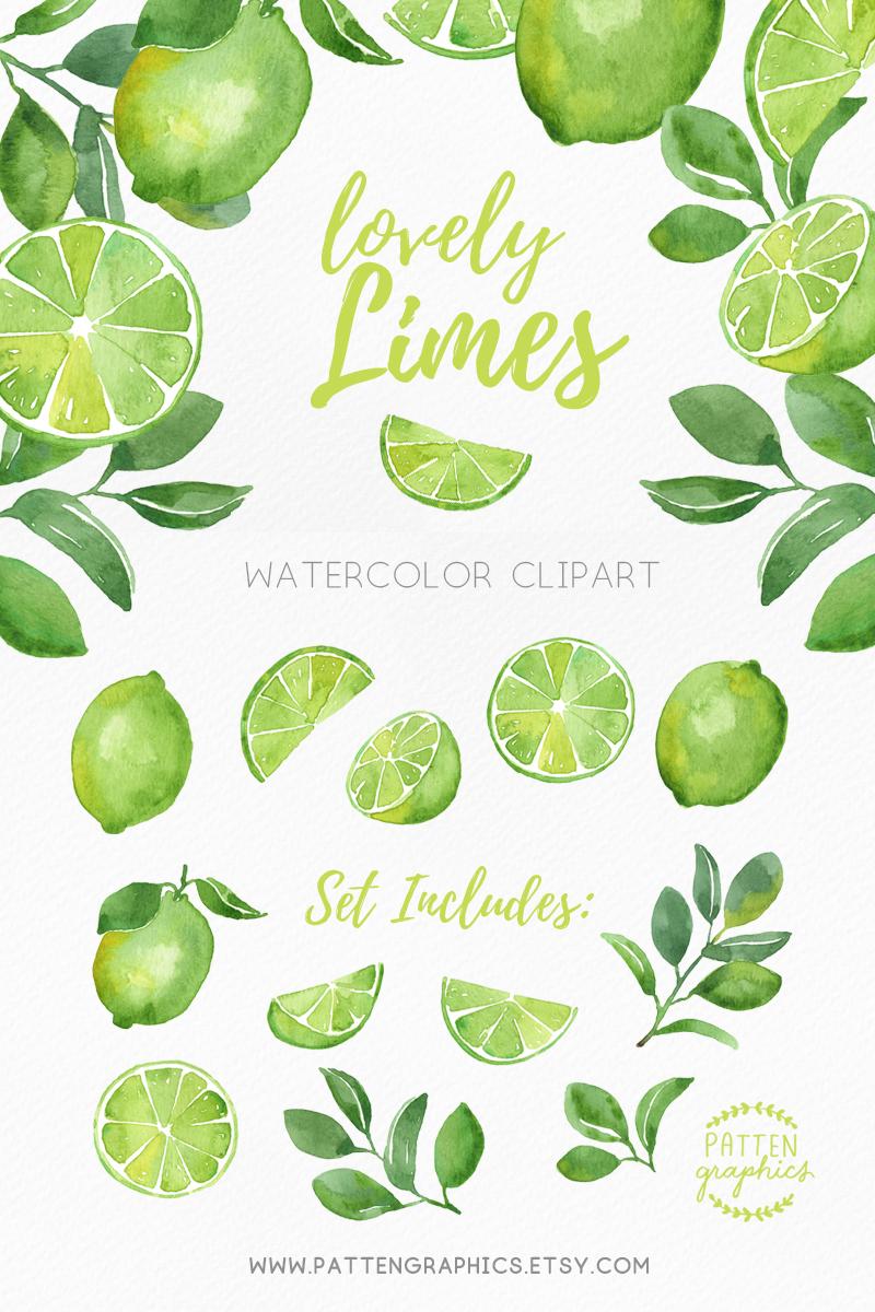 Lime clipart summer fruit. Watercolor clip art