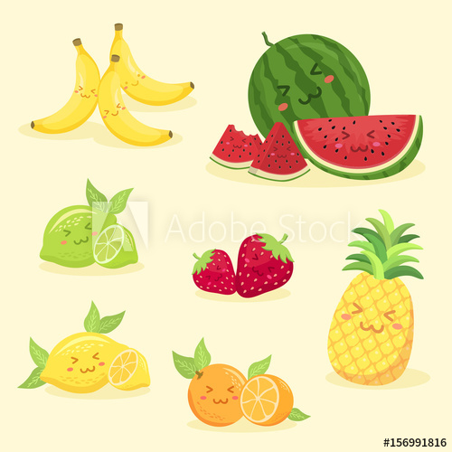 Fruits set cute face. Lime clipart summer fruit