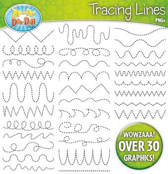 Lines clipart. Tracing set zip a
