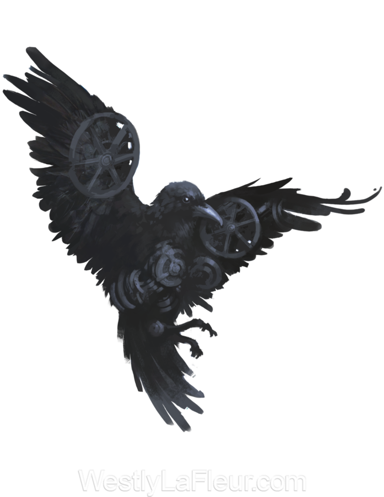 Steampunk clipart flight wing. A ish raven i