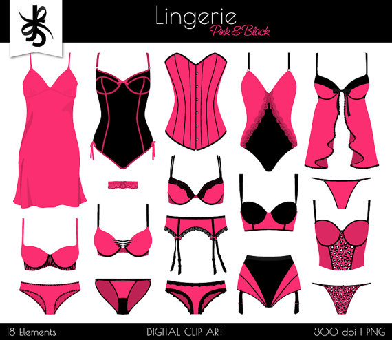 Digital boudoir pink and. Lingerie clipart