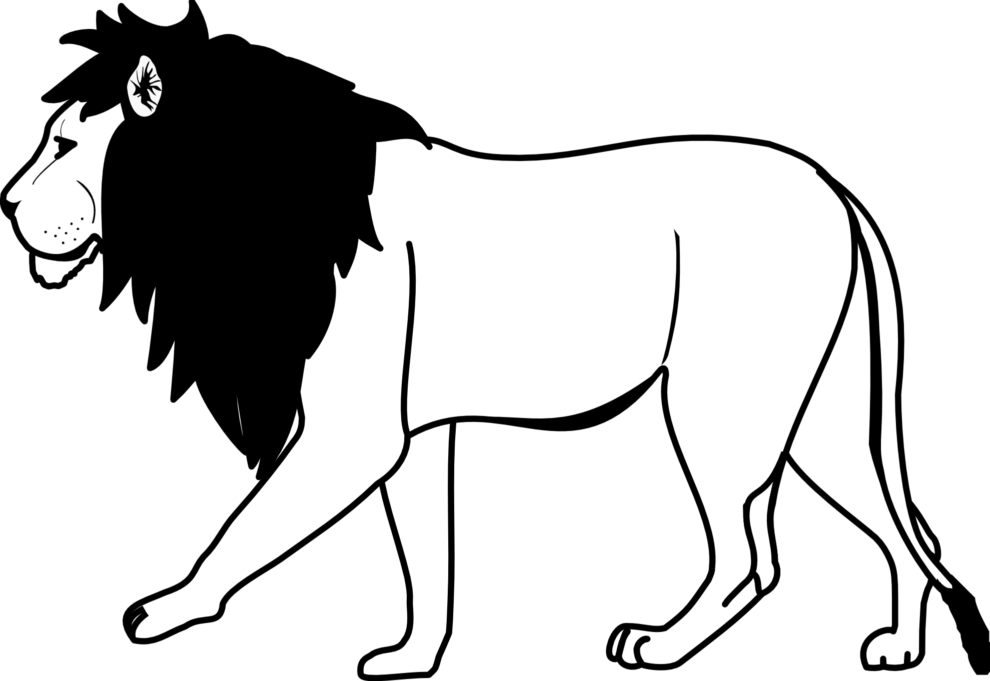 Black and white free. Lion clipart giraffe
