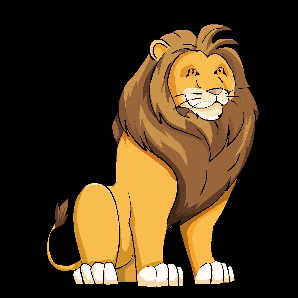 Dessin de en couleur. Lion clipart loin