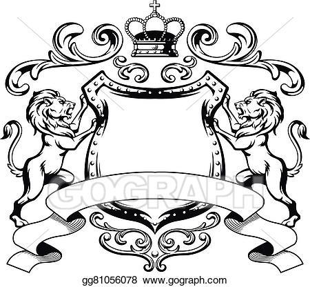 Vector stock heraldic crest. Lion clipart shield