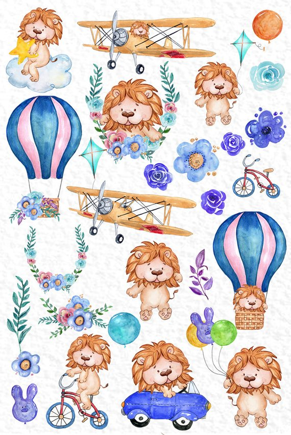 Cute watercolor animals shower. Lions clipart baby boy