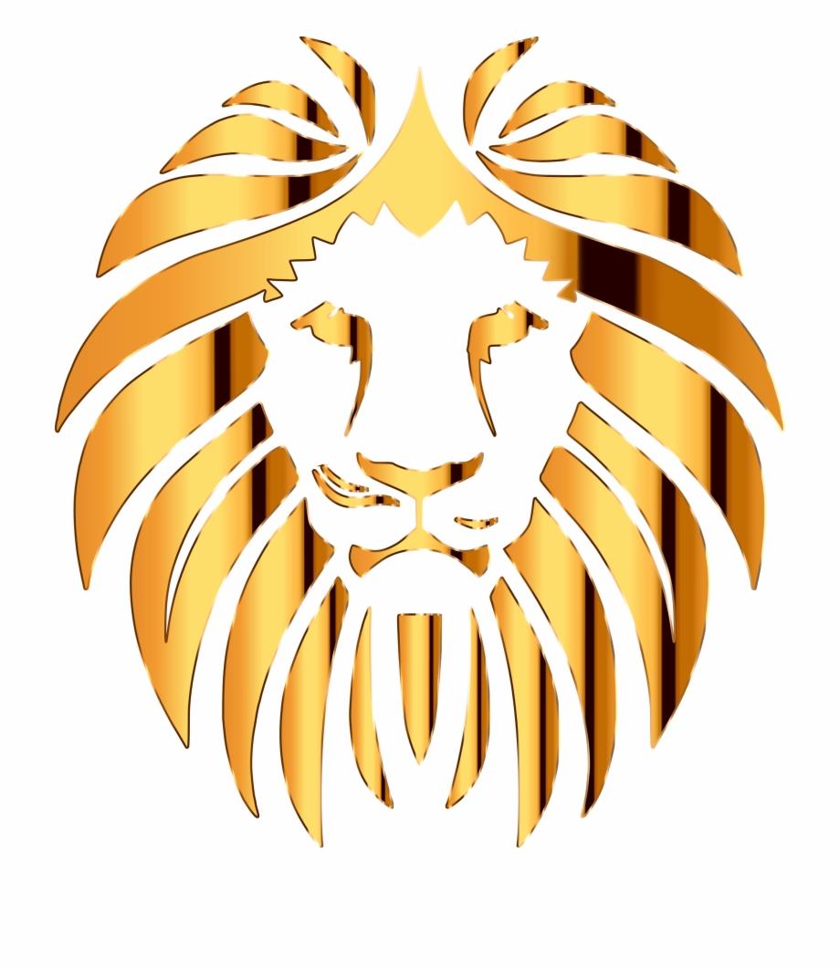 Lions clipart golden lion. Gold transparent background