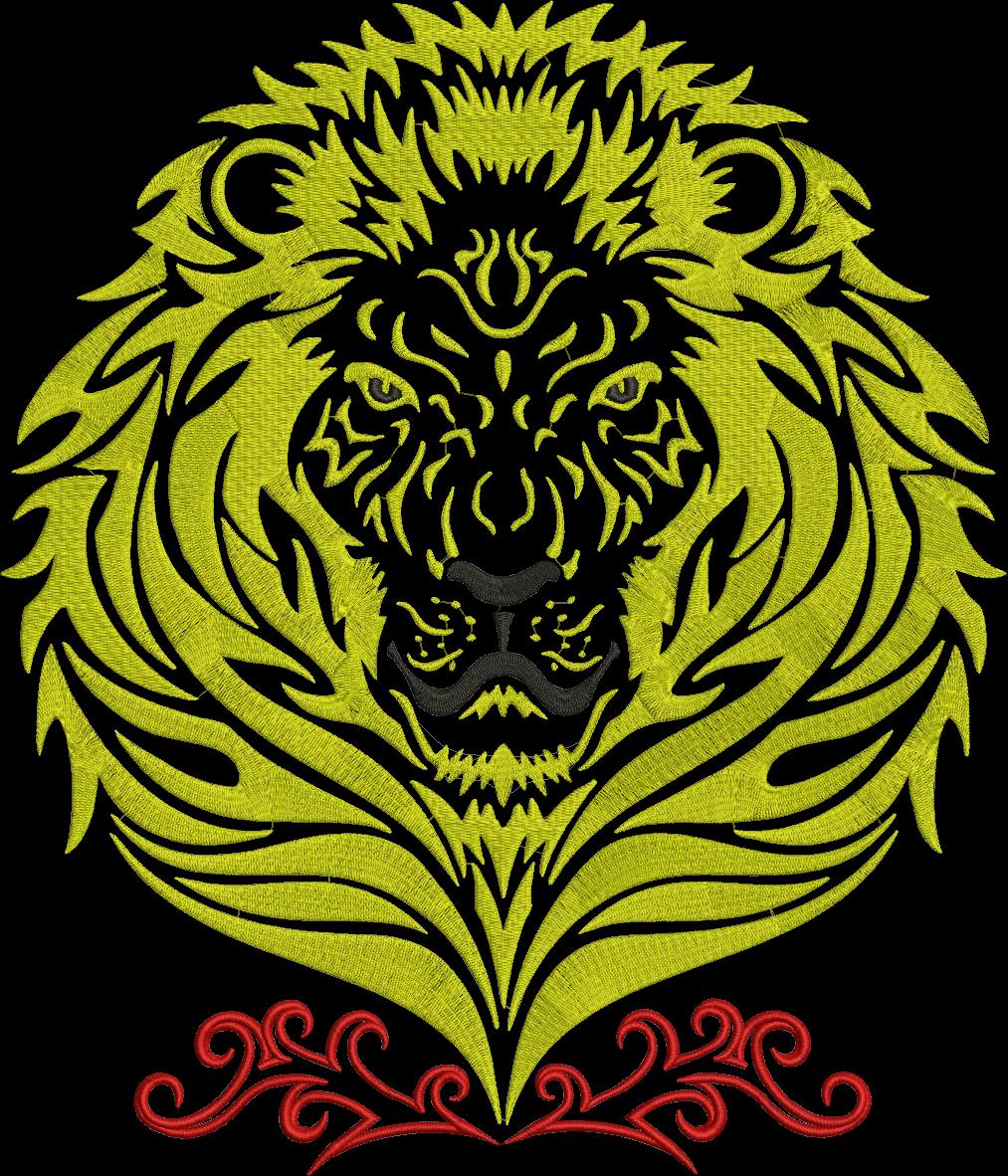 Lions clipart golden lion. Embroidery design