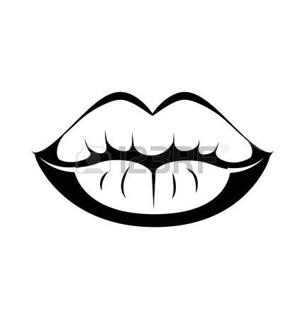 Lip clipart black and white. Free download best