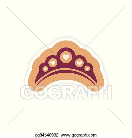 Vector illustration paper sticker. Lips clipart diadem