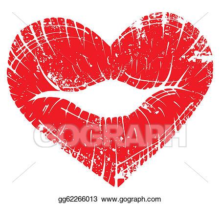 Lip clipart heart. Vector stock print illustration