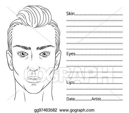 Vector art face chart. Lip clipart male