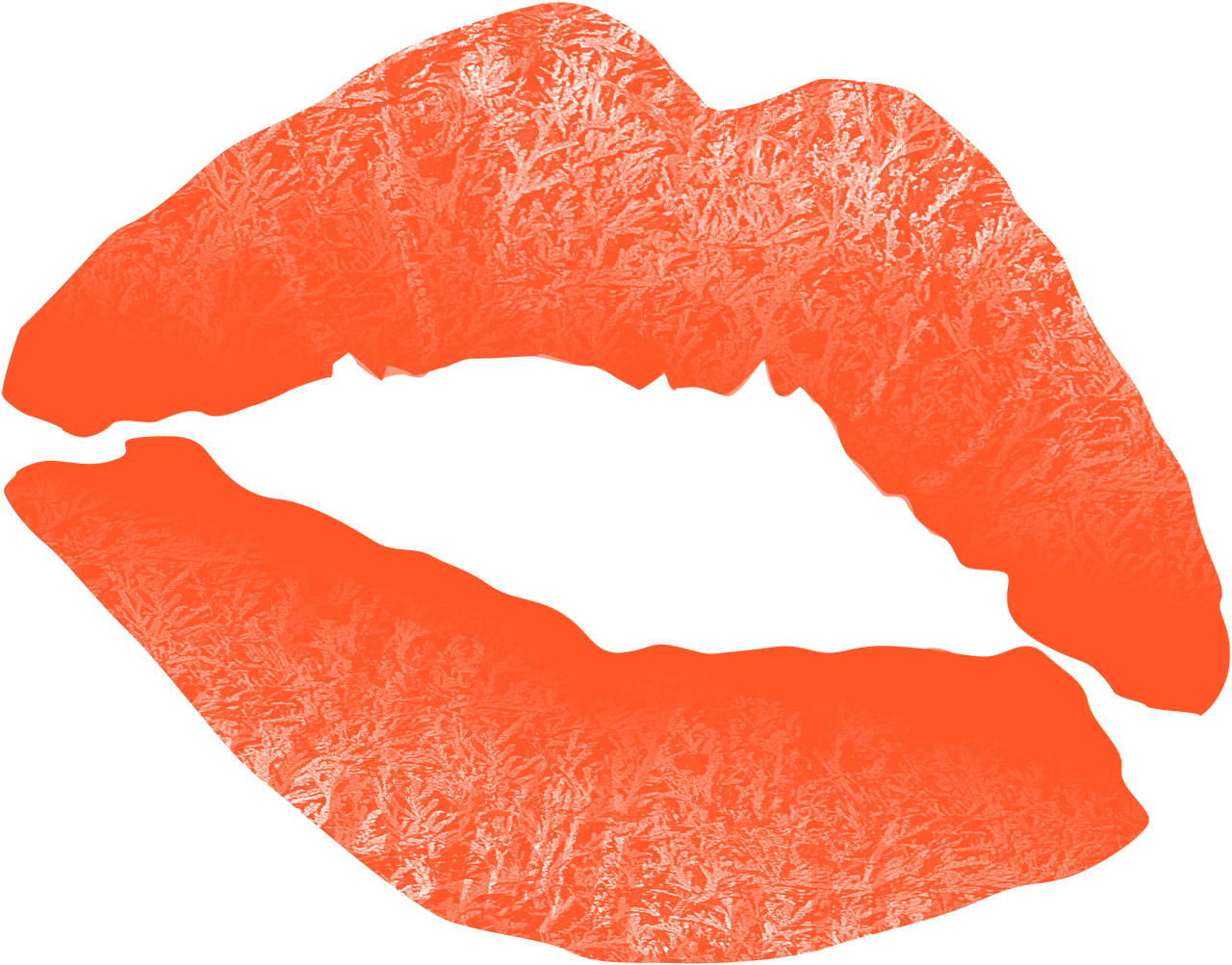 Kiss mouth lips text. Lip clipart orange