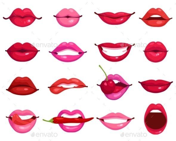 Lips cartoon set decorative. Lip clipart simple lip