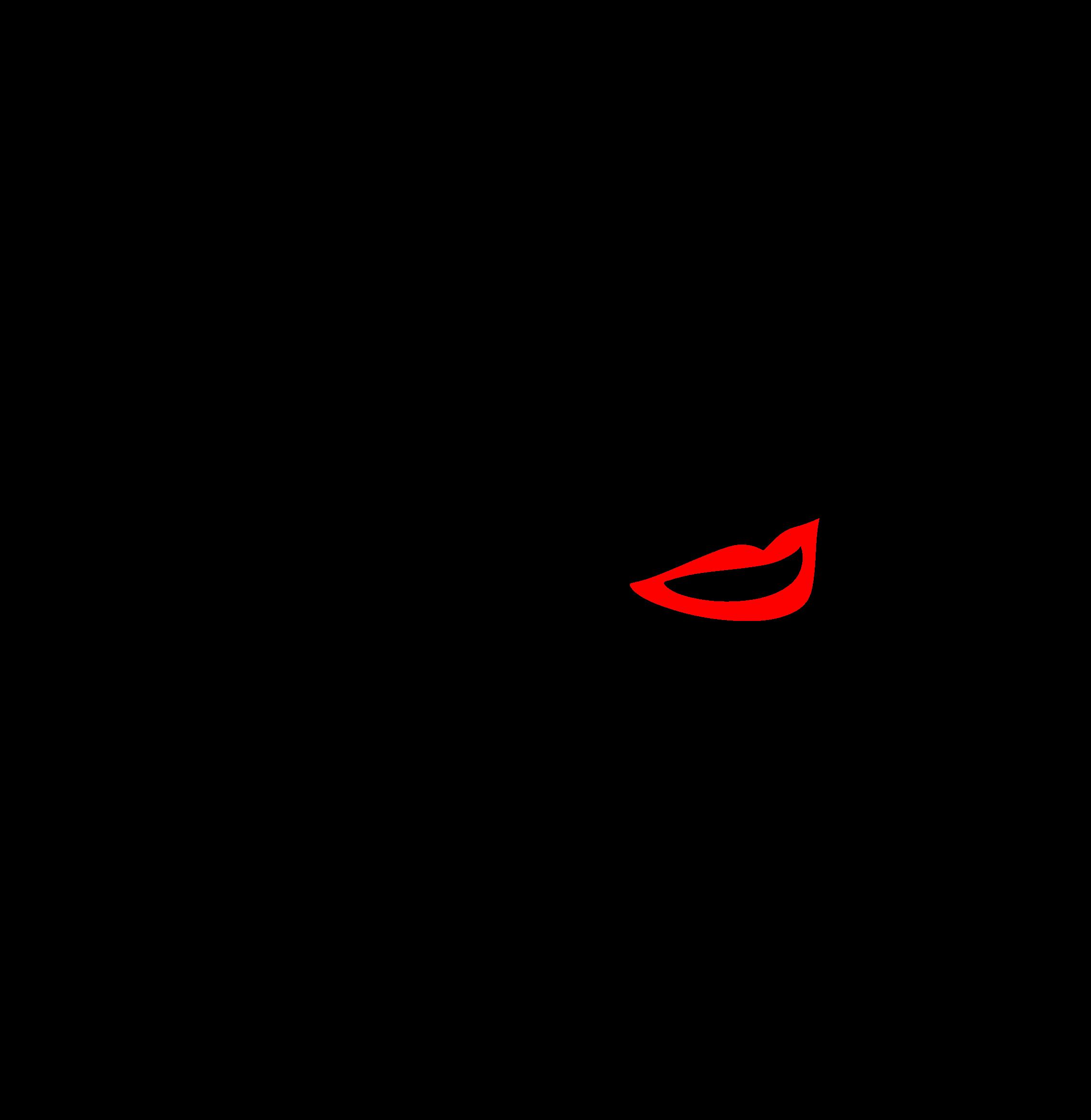 Female line art big. Lip clipart sketch